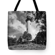 Jupiter Inler Lighthouse In Black And White Tote Bag