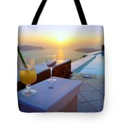 Just Before Sunset In Santorini Tote Bag
