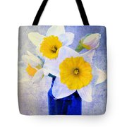 Just Plain Daffy 2 In Blue - Flora - Spring - Daffodil - Narcissus - Jonquil  Tote Bag