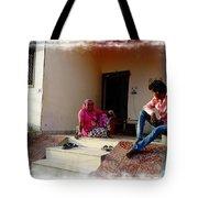 Just Sitting 3 - Family Portrait - Indian Village Rajasthani Tote Bag
