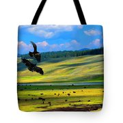 Juvenile Eagles Play Fight Tote Bag
