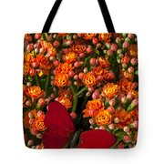 Kalanchoe Plant With Butterfly Tote Bag