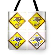 Kangaroos Road Sign Pop Art Tote Bag