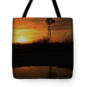 Kansas Blaze Orange Sunset With Windmill And Water Reflection Tote Bag