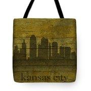 Kansas City Missouri City Skyline Silhouette Distressed On Worn Peeling Wood Tote Bag