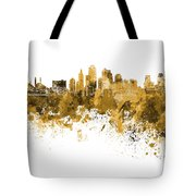 Kansas City Skyline In Orange Watercolor On White Background Tote Bag