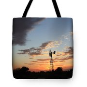 Kansas Golden Sky With A Windmill Tote Bag
