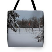 Kansas Snowy Landscape Tree's And Fence Tote Bag