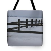 Kansas Snowy Wooden Fence Tote Bag by Robert D  Brozek