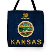 Kansas State Flag Art On Worn Canvas Tote Bag