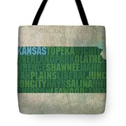 Kansas Word Art State Map On Canvas Tote Bag