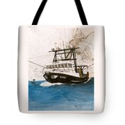 Karis Trawl Fishing Boat Nautical Chart Art Tote Bag