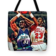 Karl Malone Vs. Michael Jordan Tote Bag