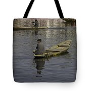 Kashmiri Men Rowing Many Small Wooden Boats In The Waters Of The Dal Lake Tote Bag