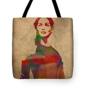 Katniss Everdeen From Hunger Games Jennifer Lawrence Watercolor Portrait On Worn Parchment Tote Bag