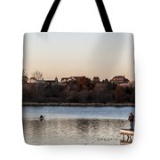 Kayak At Sunset Tote Bag