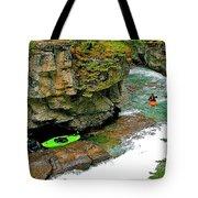 Kayakers In Maligne Canyon In Jasper Np-alberta Tote Bag