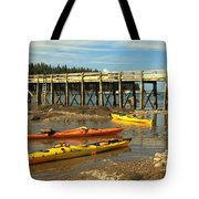 Kayaks By The Pier Tote Bag