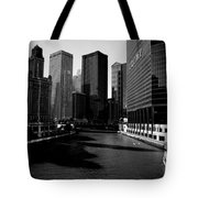 Kayaks On The Chicago River - Black Tote Bag