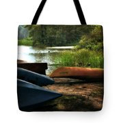 Kayaks On The Shore Tote Bag