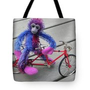 Toy Monkey On Toy Bike Tote Bag