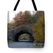 Kelly Drive Rock Tunnel In Autumn Tote Bag