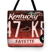 Kentucky License Plate Tote Bag