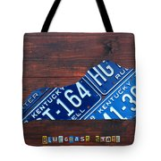 Kentucky License Plate Map The Bluegrass State Tote Bag by Design Turnpike