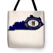 Kentucky Map Art With Flag Design Tote Bag