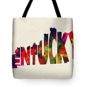 Kentucky Typographic Watercolor Map Tote Bag