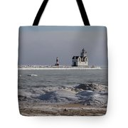 Kewaunee Lighthouse In Winter Tote Bag