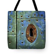 Keyhole On A Blue And Green Door Tote Bag