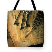 Keys And Quill On Old Papers Tote Bag