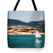 Kid Sailing On A Lake Tote Bag