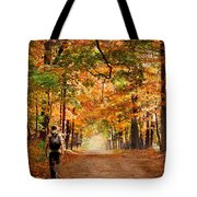 Kid With Backpack Walking In Fall Colors Tote Bag
