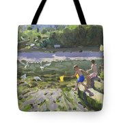 Kids And Seagulls Tote Bag