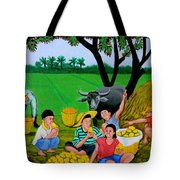Kids Eating Mangoes Tote Bag by Cyril Maza