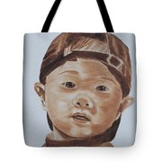 Kids In Hats - Young Baseball Fan Tote Bag
