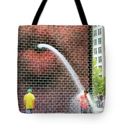 Kids Play In City Fountain Tote Bag