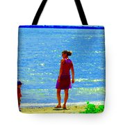Kids Playing On The Seashore Mom And Little Boys Pointe Claire Montreal Waterscene Carole Spandau Tote Bag