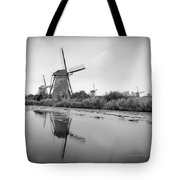 Kinderdijk In Black And White Tote Bag