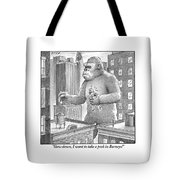 King Kong Stands In A Large City Tote Bag