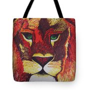 Lion In Orange Tote Bag