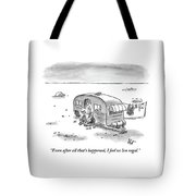 King Speaks To Woman As They Sit Outside Trailer Tote Bag by Frank Cotham