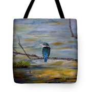 Kingfisher Over Estuary Tote Bag