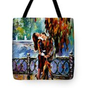 Kiss After The Rain - Palette Knife Oil Painting On Canvas By Leonid Afremov Tote Bag