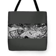 Kiss Me Hot Stuf In Black And White Tote Bag