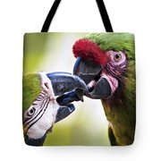 Kissing Macaws Tote Bag