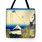 Kite Flying Over Mount Fuji Tote Bag