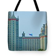 Kite Over Moscow University In Moscow-russia Tote Bag